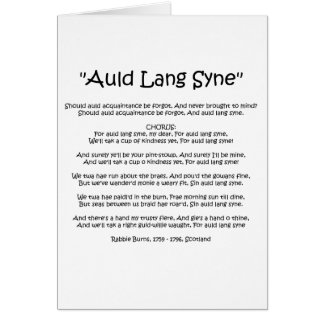 "New Year ""Auld Lang Syne"" Greetings Card"