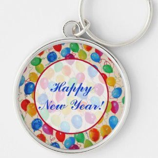 New Year Balloons Silver-Colored Round Key Ring