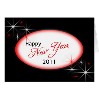 New Year black red sparkle, 2011 Card