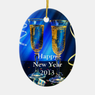 New Year Champagne Toast Ceramic Oval Decoration