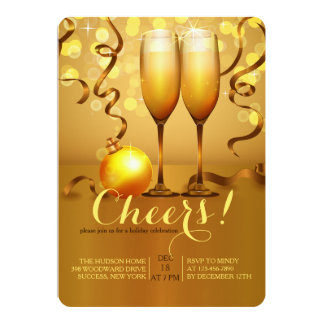 New Year Party Champagne Toast Invitations & Announcements ...
