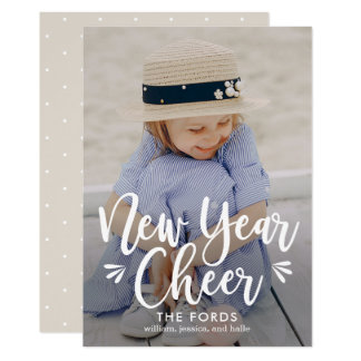 New Year Cheer EDITABLE Back Colour New Year Card