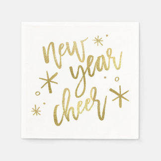 New Year Cheer Gold Foil Napkins Disposable Serviette