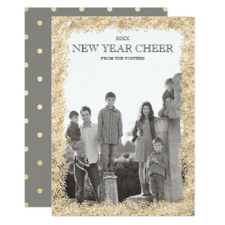 New Year Cheer|Sprayed Gold Photo Card