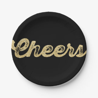 New Year Cheers Glitter Holiday Party Paper Plate