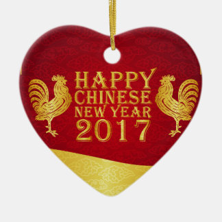 New Year Chinese Style 2017 Rooster Ceramic Heart Decoration