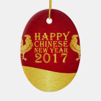 New Year Chinese Style 2017 Rooster Ceramic Oval Decoration
