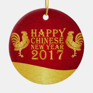 New Year Chinese Style 2017 Rooster Round Ceramic Decoration