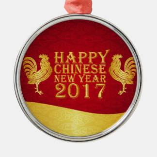 New Year Chinese Style 2017 Rooster Silver-Colored Round Decoration