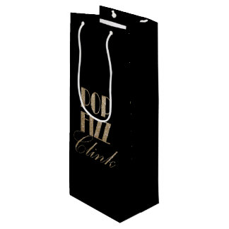 New Year Eve Gold and Black Pop Fizz Clink Wine Gift Bag