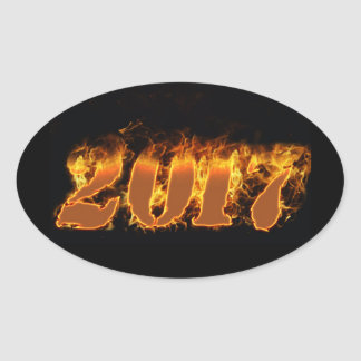 New year flaming 2017 sticker