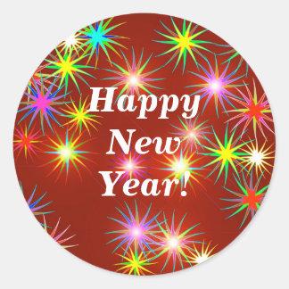 New Year Flash Round Sticker