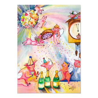 New Year Flying Pigs Invitation