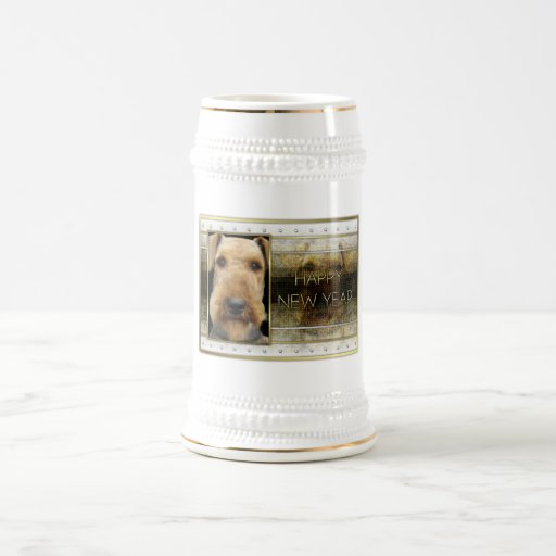 New Year - Golden Elegance - Airedale Mugs