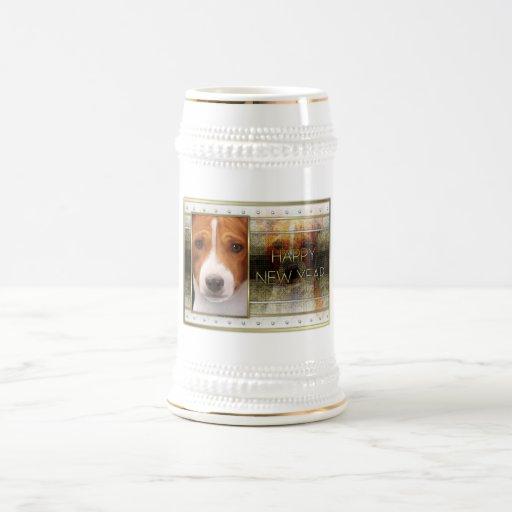 New Year - Golden Elegance - Basenji Coffee Mugs