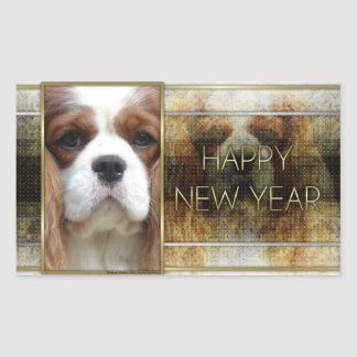 New Year - Golden Elegance - Cavalier Blenheim Rectangular Sticker