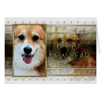 New Year - Golden Elegance - Corgi - Owen Card