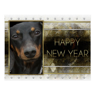 New Year - Golden Elegance - Dachshund Winston Postcard