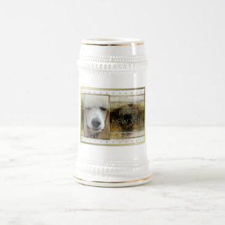New Year - Golden Elegance - Poodle Apricot Beer Stein