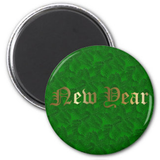 New Year Golden Green Spruce Round Magnet