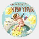 New Year Greetings Cherub Globe Vintage Postcard Round Sticker