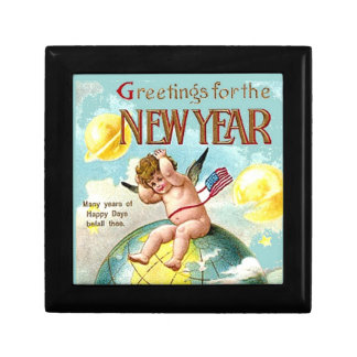 New Year Greetings Cherub Jewelry Trinket StashBox Small Square Gift Box