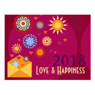 New Year Happiness greeting postcards