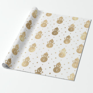 New Year Holidays White Golden Snowman Wrapping Paper
