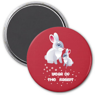 New Year of the Rabbit . Two Rabbits 7.5 Cm Round Magnet