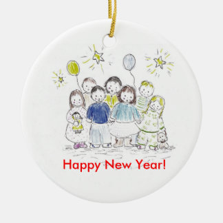 New Year Party Round Ceramic Decoration
