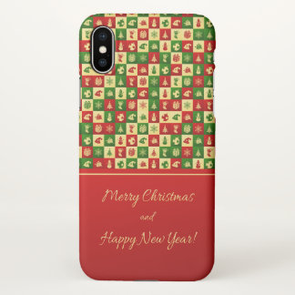 New Year pattern. Color mosaic. 2018. iPhone X Case