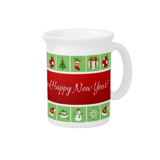 New Year pattern. Color Pictures. 2018. Pitcher