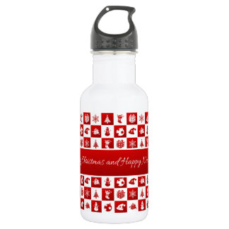 New Year pattern. Red and White. 2018. 532 Ml Water Bottle