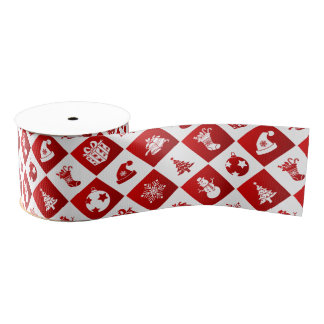 New Year pattern. Red and White. 2018. Grosgrain Ribbon