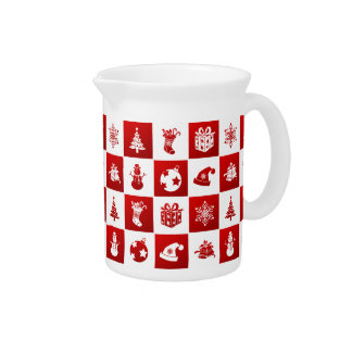New Year pattern. Red and White. 2018. Pitcher