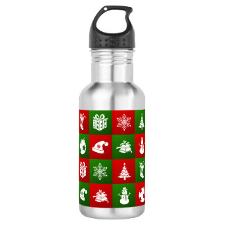 New Year pattern. Red, Green, White. 2018. 532 Ml Water Bottle