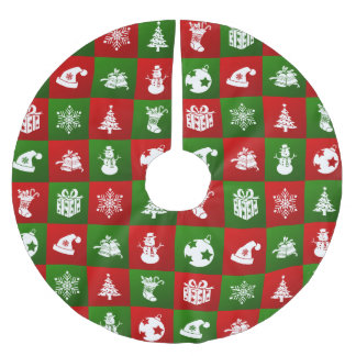 New Year pattern. Red, Green, White. 2018. Brushed Polyester Tree Skirt