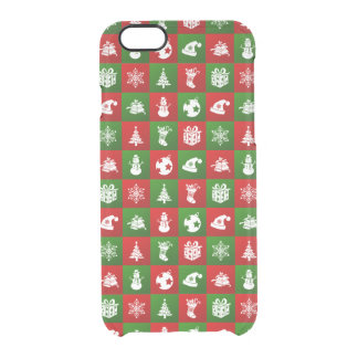 New Year pattern. Red, Green, White. 2018. Clear iPhone 6/6S Case