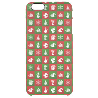 New Year pattern. Red, Green, White. 2018. Clear iPhone 6 Plus Case