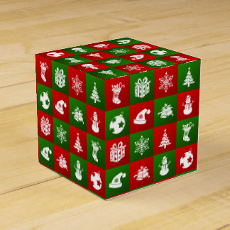 New Year pattern. Red, Green, White. 2018. Favour Box