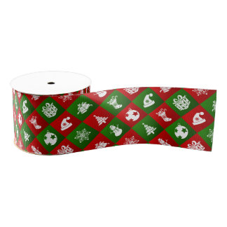 New Year pattern. Red, Green, White. 2018. Grosgrain Ribbon