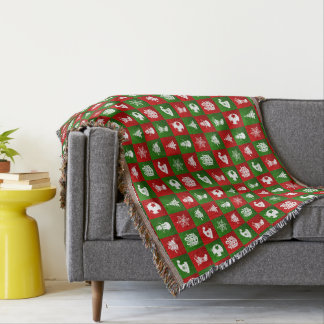 New Year pattern. Red, Green, White. 2018. Throw Blanket