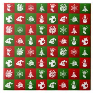 New Year pattern. Red, Green, White. 2018. Tile