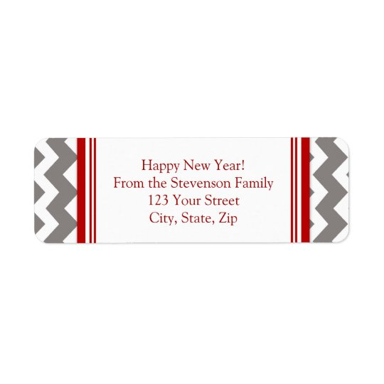 New Year Return Address Labels Grey Red