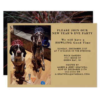 New Year's Eve Party Dogs and Fireworks Invitation
