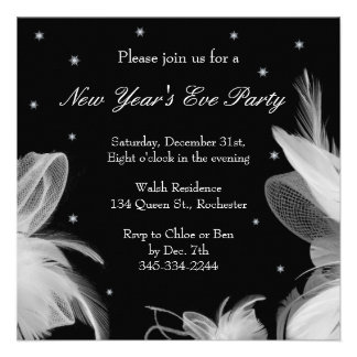 New Year s Eve Winter White Feathers Invitation