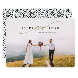New Year Script Faux Gold Holiday Photo Card