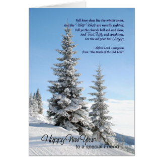 New Year Snow on Conifers for Friend Tennyson Poem Card