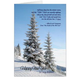 New Year Snow on Conifers for Sister Tennyson Poem Card