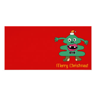 New Year Tree Cute Monster Card Photo Card Template